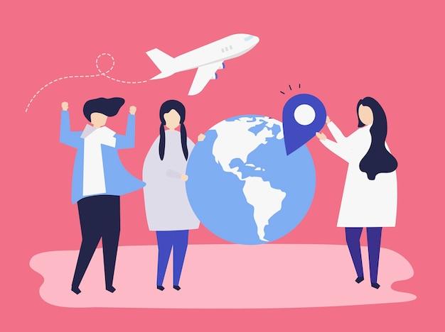 Pessoas que transportam diferentes viagens relacionadas com ícones