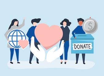 Pessoas que transportam doação e caridade relacionados com ícones