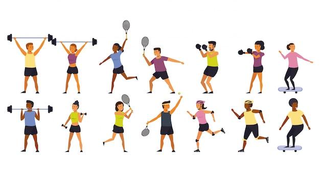Pessoas que treinam desenhos animados de esportes
