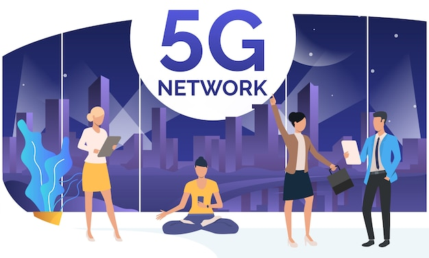 Pessoas que usam a rede 5g no espaço de trabalho conjunto