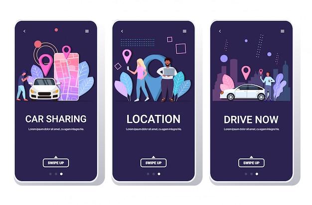 Pessoas que usam aplicativos móveis pedidos on-line táxi compartilhamento de carro transporte localização navegação conceito rota e pontos no mapa da cidade telas de smartphone conjunto horizontal espaço de cópia de comprimento total