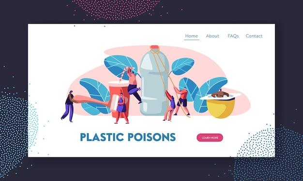 Pessoas que usam coisas de plástico na vida normal. produtos de consumo humano. modelo de página de destino do site