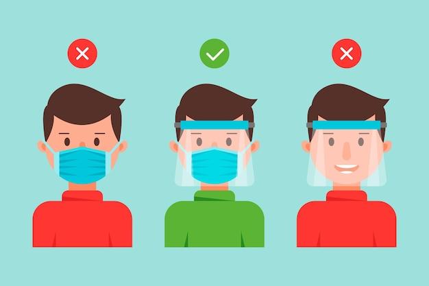 Pessoas que usam coleção de máscara e escudo facial