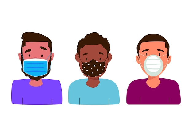 Pessoas que usam diferentes tipos de máscaras faciais