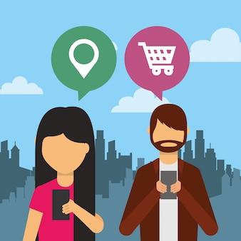 Pessoas que usam dispositivo smartphone com balões de fala e fundo da cidade