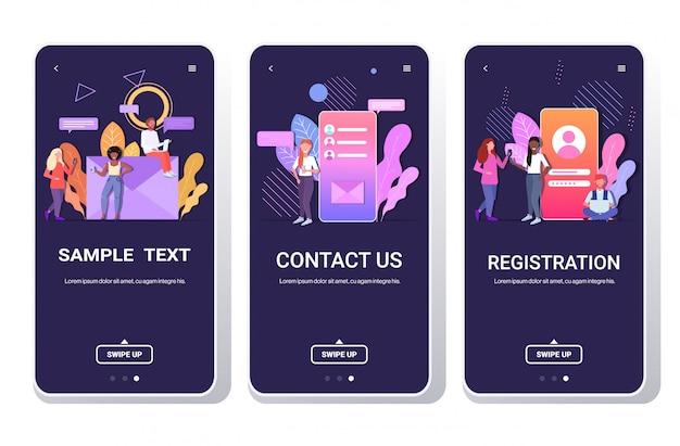 Pessoas que usam dispositivos digitais bate-papo on-line registro de aplicativo entre em contato conosco conceito de comunicação em rede social telas de smartphone definidas horizontalmente