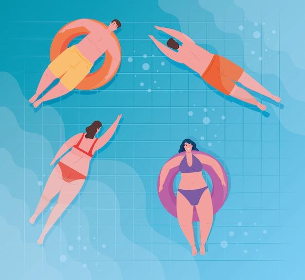 Pessoas que usam maiô, pessoas flutuando e nadando, tomando banho de sol no inflável, na piscina, temporada de férias de verão