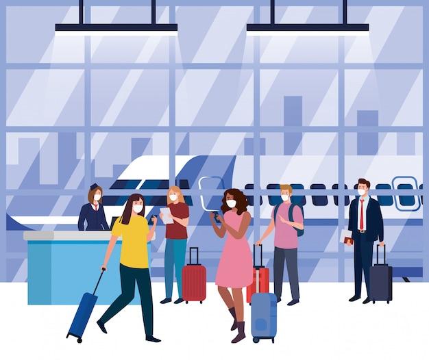 Pessoas que usam máscara de proteção médica no terminal do aeroporto, viajando de avião durante a pandemia de coronavírus, prevenção secreta 19