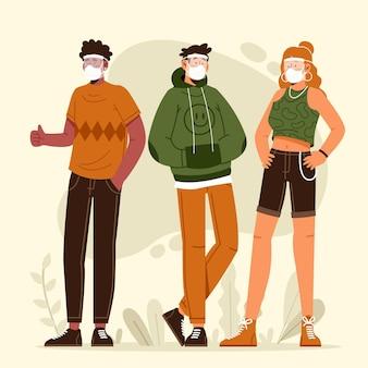 Pessoas que usam máscara e escudo