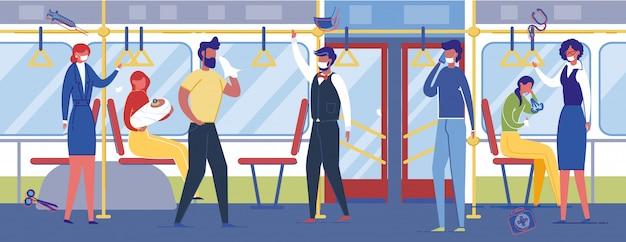 Pessoas que usam máscaras médicas de proteção no transporte público