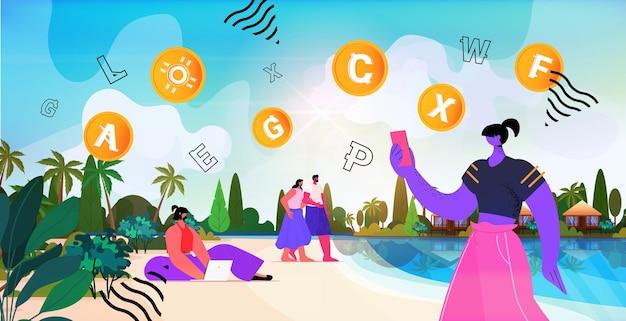 Pessoas que usam o aplicativo de mineração de criptomoedas em um laptop para transferência de dinheiro virtual, transação bancária, moeda digital