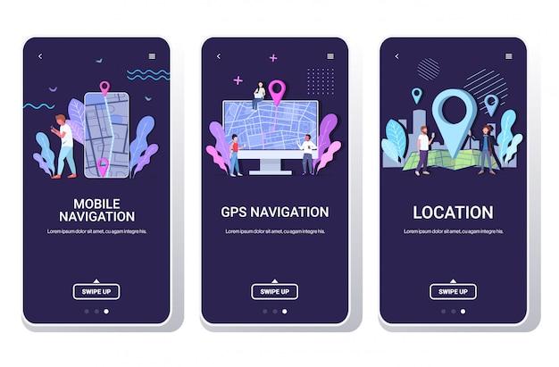 Pessoas que usam o aplicativo de navegação on-line em dispositivos digitais homens mulheres explorando a rota com o pino de localização ponteiros gps telas de smartphones definidas horizontalmente