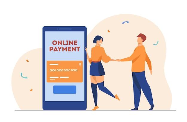 Pessoas que usam o aplicativo móvel de pagamento online. ilustração de desenho animado
