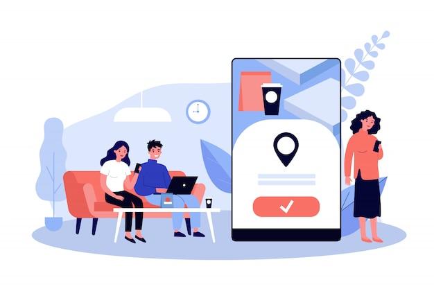 Pessoas que usam o aplicativo on-line para entrega de alimentos