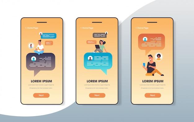 Pessoas que usam o bate-papo app rede social conceito de comunicação de discurso de bolha de bate-papo