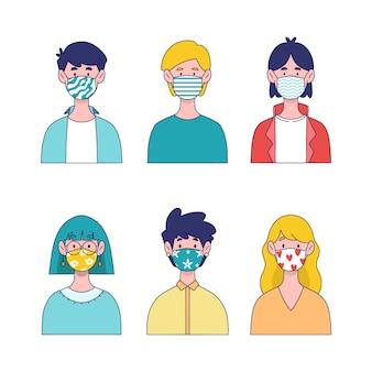 Pessoas que usam o conceito de máscaras de tecido