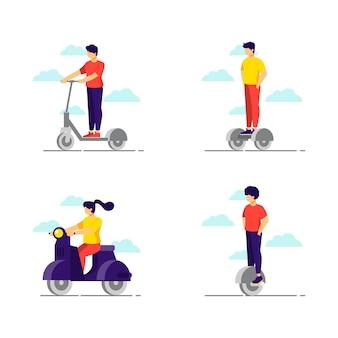 Pessoas que usam seu transporte pessoal elétrico