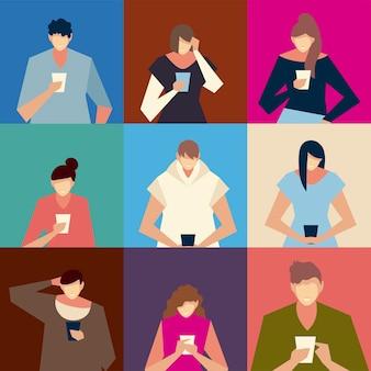 Pessoas que usam smartphone, homens e mulheres com ilustração vetorial de dispositivos