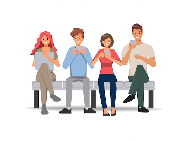Pessoas que usam telefone celular para fundo de comunicação de rede de mídia social