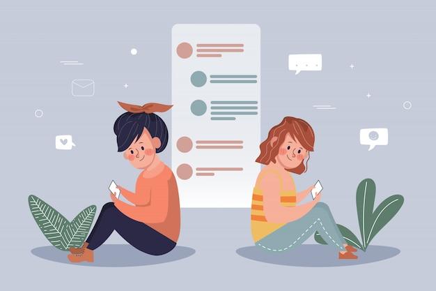 Pessoas que usam telefone celular para o fundo de comunicação de rede de mídia social. pessoas da comunidade online. mão desenhada cartoon desenho vetorial.