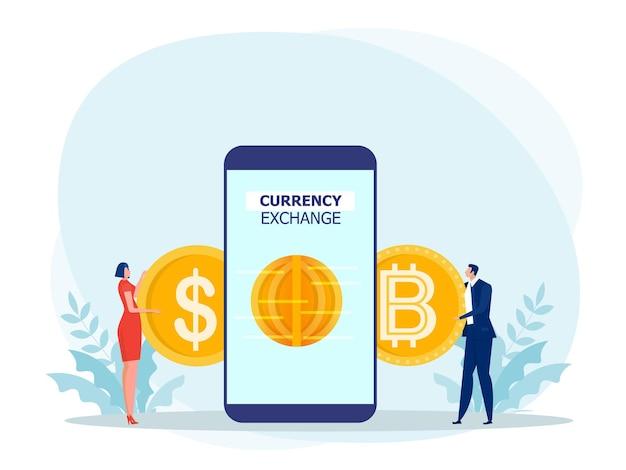 Pessoas que usam um smartphone para trocar dólares por bitcoin.