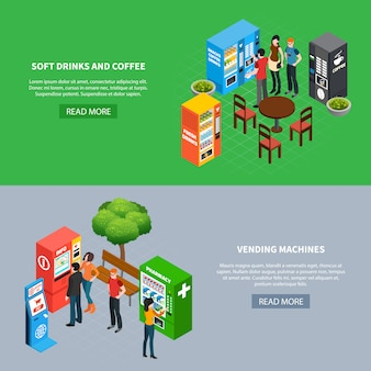 Pessoas que usam várias máquinas de venda automática e terminais banners isométricos horizontais conjunto 3d ilustração vetorial isolado