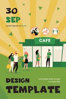 Pessoas que vão ao café durante a pandemia de coronavírus. catering, recreação, fila de espera. modelo de folheto plano