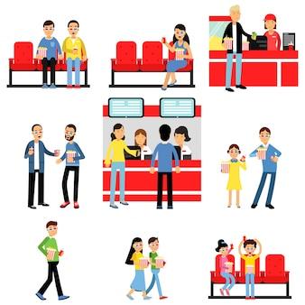 Pessoas que vão ao set de cinema ou cinema, homem e mulher comprando ingressos, pipoca, bebem ilustrações coloridas