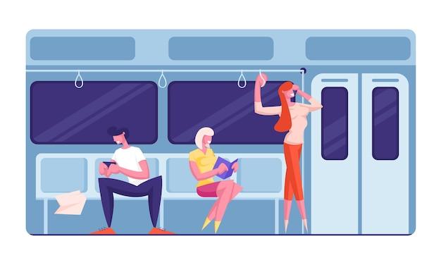 Pessoas que vão de metrô no trabalho.