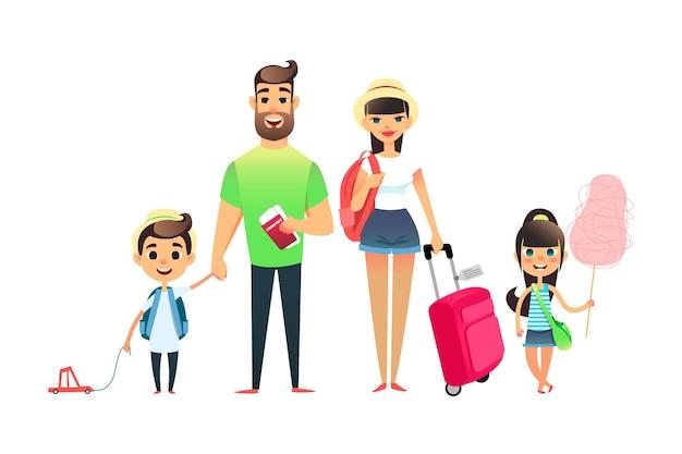 Pessoas que viajam com a família à espera de um avião ou trem