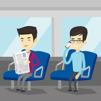 Pessoas que viajam de transporte público.