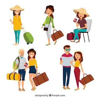 Pessoas que viajam no estilo desenhado a mão