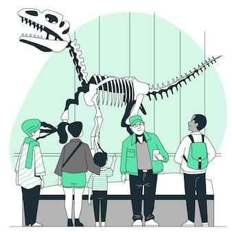 Pessoas que visitam a ilustração do conceito de museu de história