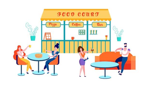 Pessoas que visitam a praça de alimentação para comprar comida, cafe
