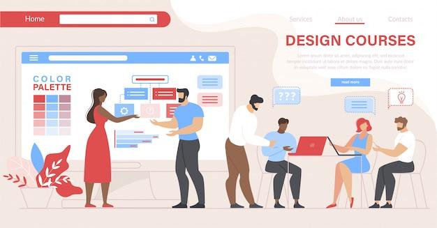 Pessoas que visitam cursos de design. educação em sala de aula