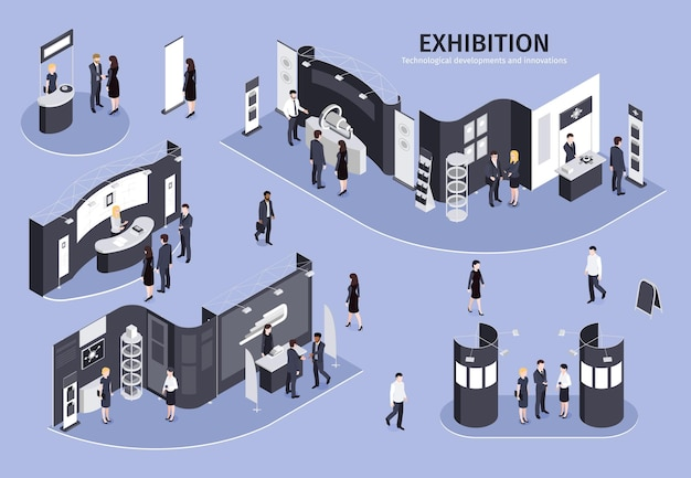 Pessoas que visitam exposição sobre o tema desenvolvimentos tecnológicos e inovações isométricas com diferentes estandes de exposição em lilás