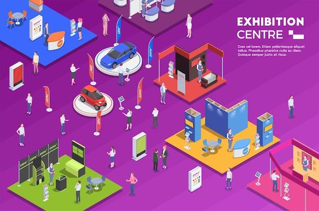 Pessoas que visitam o centro de exposições com estandes coloridos de ilustração isométrica