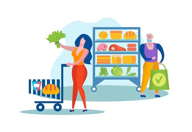 Pessoas que visitam supermercado ou mercearia para alimentos