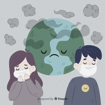 Pessoas que vivem em um mundo cheio de poluição