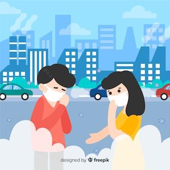 Pessoas que vivem em uma cidade cheia de poluição