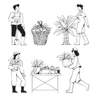 Pessoas rabiscam atividades de jardinagem