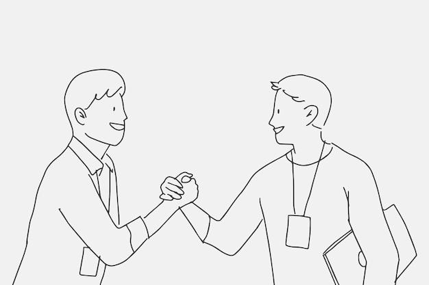 Pessoas rabiscam colegas de vetor segurando personagens de mãos
