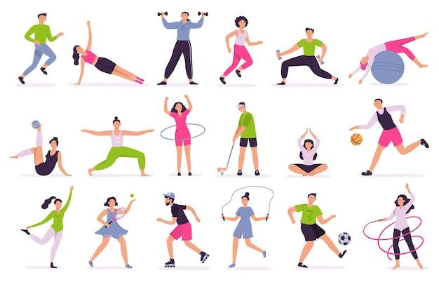Pessoas realizando atividades esportivas.