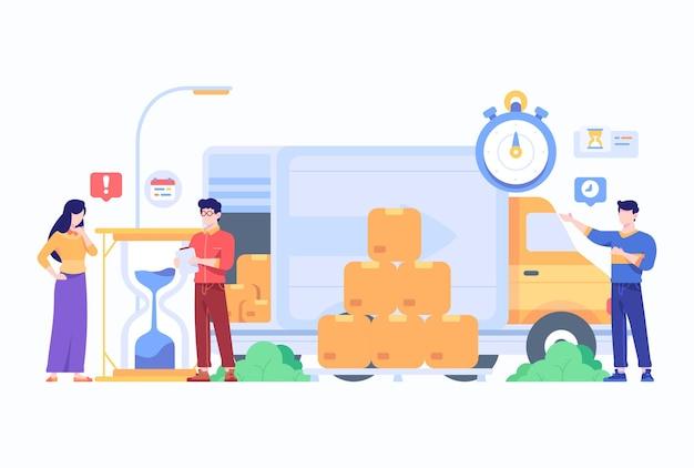 Pessoas recebem pacote com conceito de serviço de tempo de entrega expresso