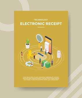 Pessoas recebem recibo eletrônico no smartphone para modelo de folheto