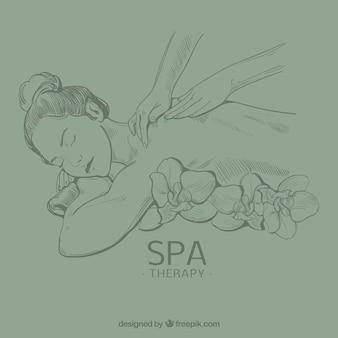 Pessoas recebendo tratamento de spa na mão desenhada estilo
