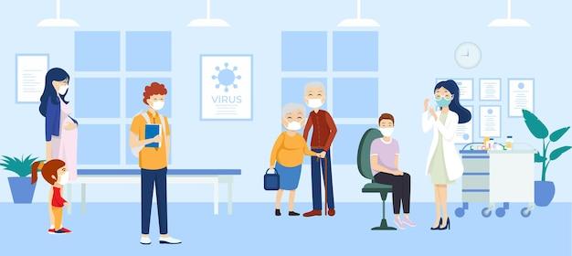 Pessoas recebendo vacinas. ilustração de design plano.