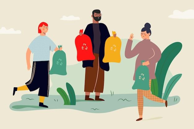 Pessoas recicladas corretamente ilustradas