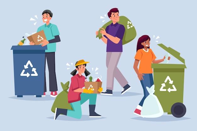 Pessoas reciclando juntos