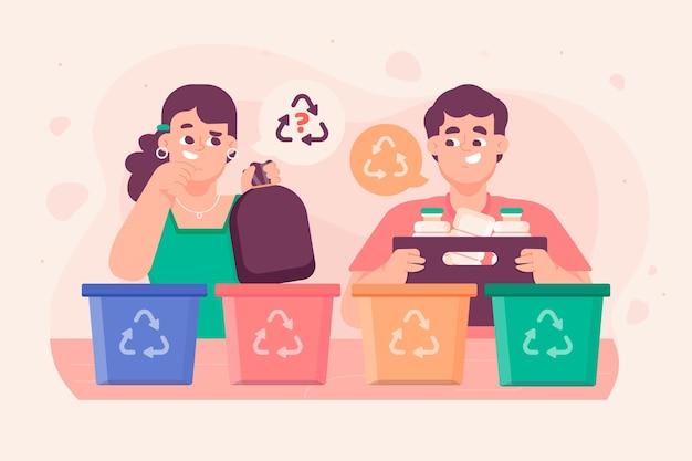Pessoas reciclando lixo